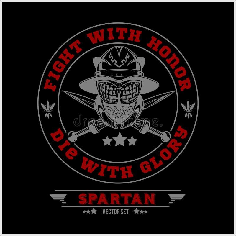 Spartan Team Logo and emblems - vector set. On dark background royalty free illustration