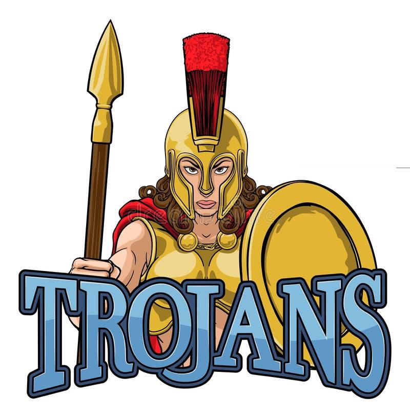 Spartan Trojan Female Warrior Gladiator kvinna royaltyfri illustrationer