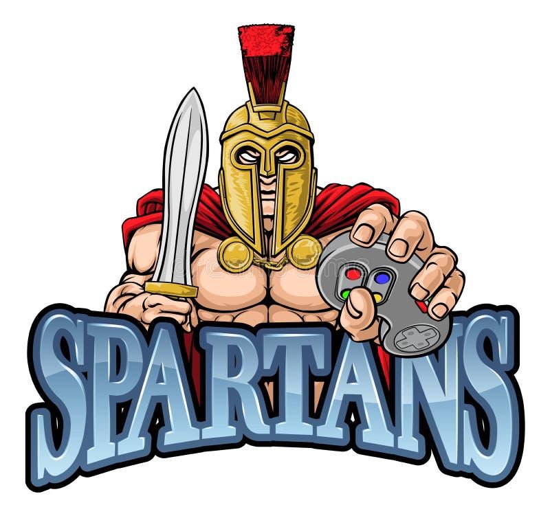 Spartan Trojan Gamer Warrior Controller maskot royaltyfri illustrationer