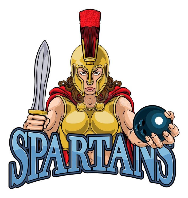 Spartan Trojan Gladiator Bowling Warrior kvinna royaltyfri illustrationer