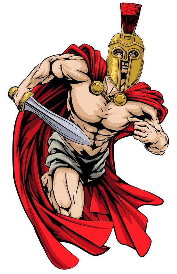 Spartan or trojan man stock illustration
