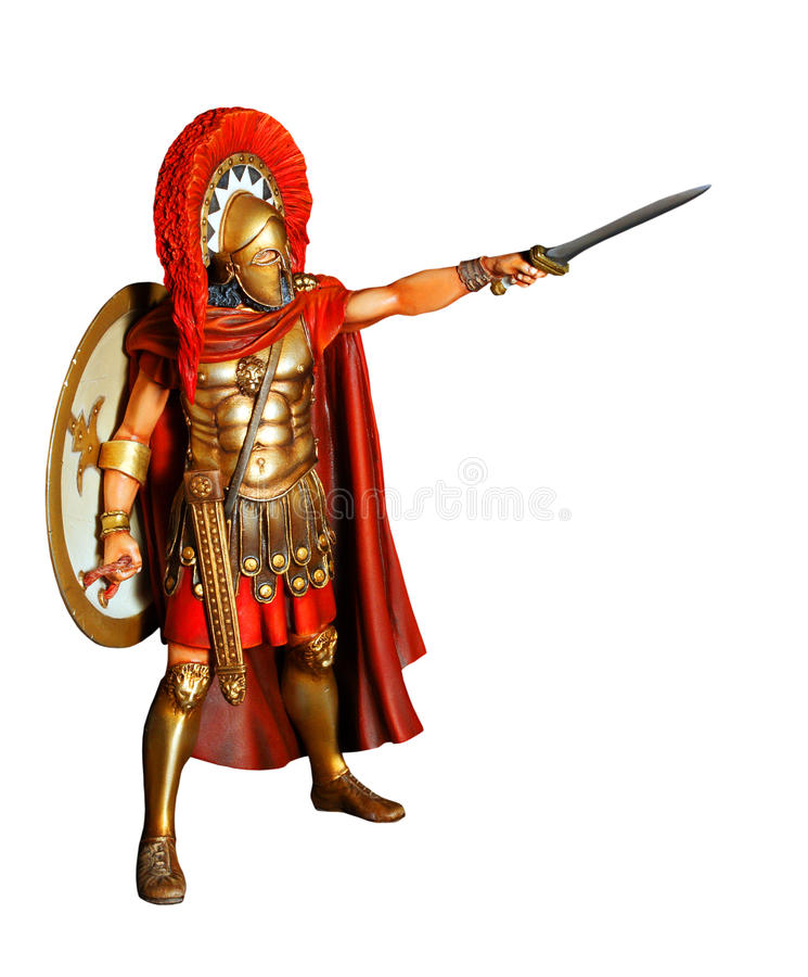 Spartan warrior in armor with sword stock illustration