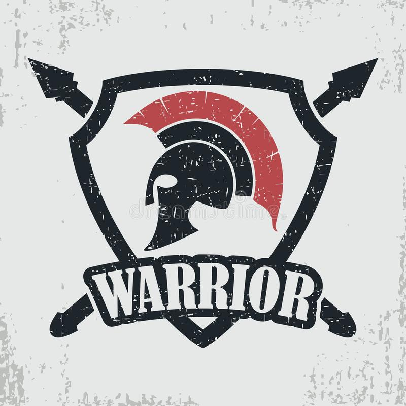Spartan warrior grunge stamp. Print for t-shirt with Greek or Rome vector illustration