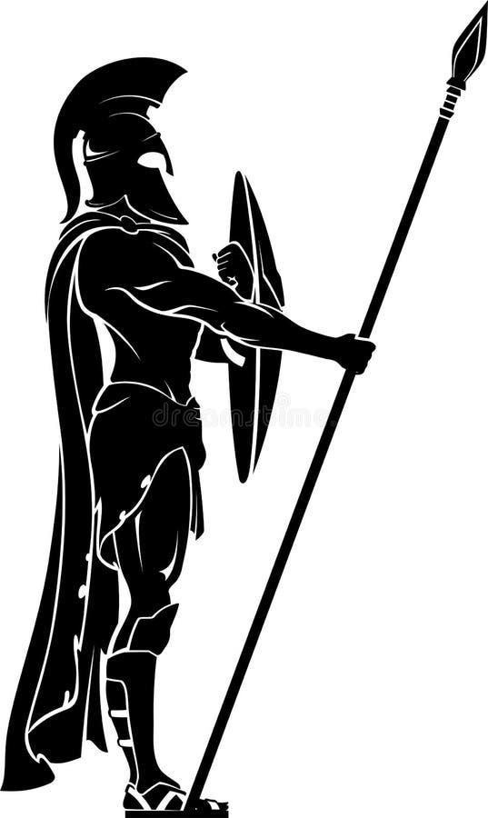 Spartan Warrior on Guard stock illustration