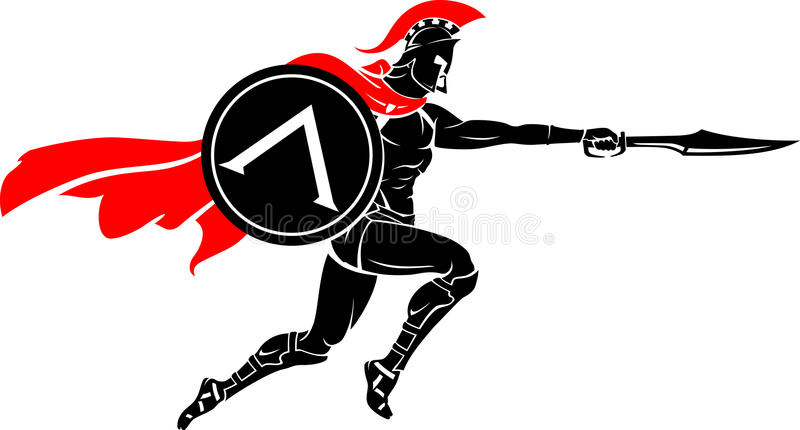 Spartan Warrior Leap Sword Attack royalty-vrije illustratie