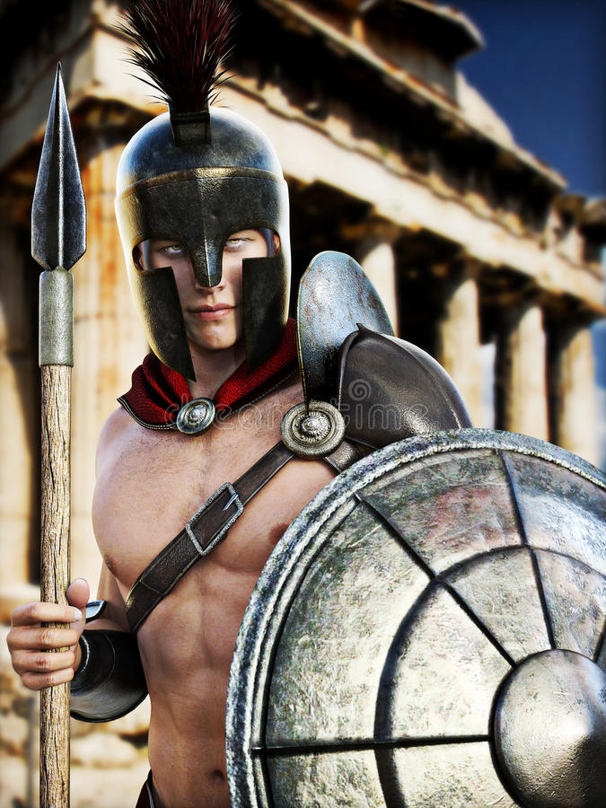 Spartan Warrior posing in front of Greek architecture. Photo realistic 3d model scene stock illustration