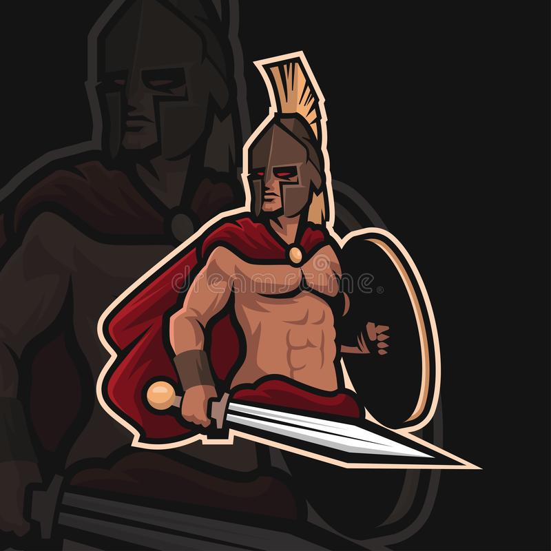 Spartan warrior e sport logo royalty free stock photo
