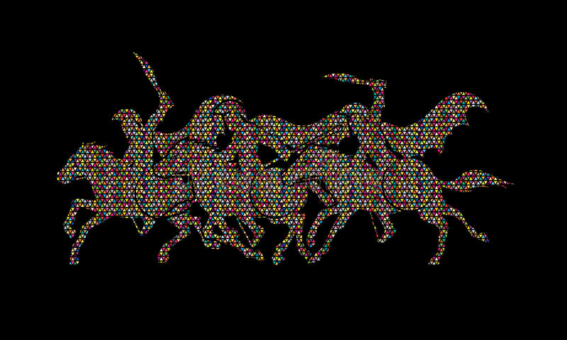 3 Spartan warrior riding horses. Designed using colorful mosaic pattern graphic vector royalty free illustration