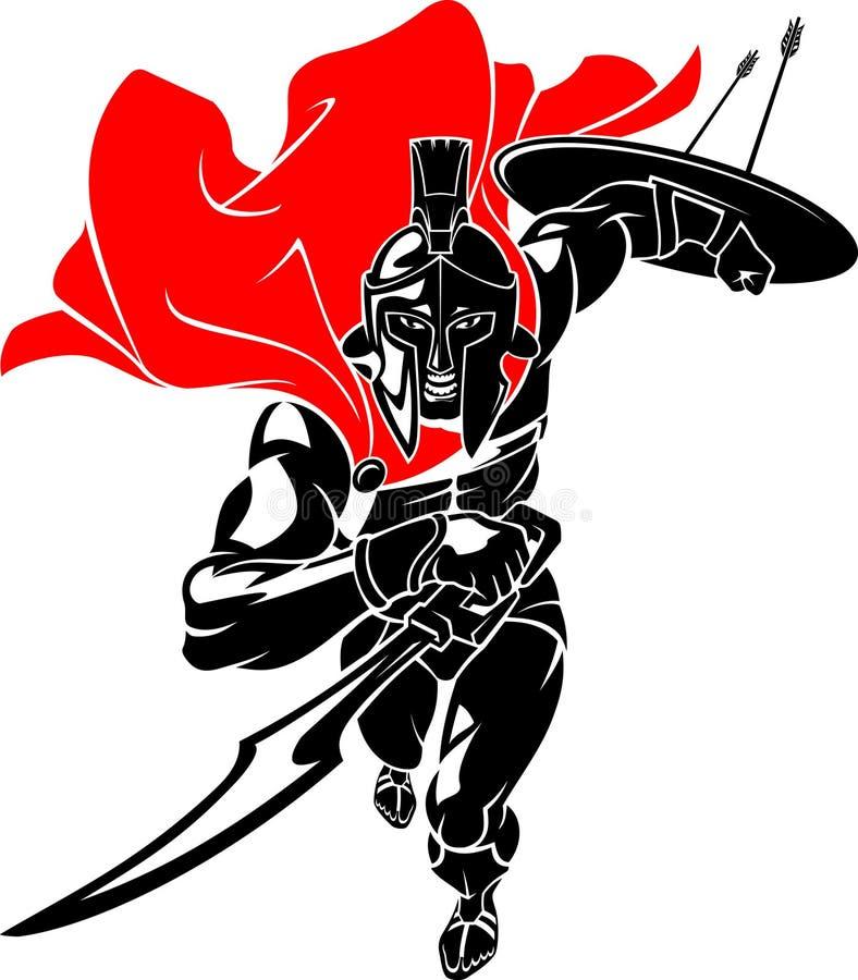 Spartan Warrior Rush illustrazione vettoriale