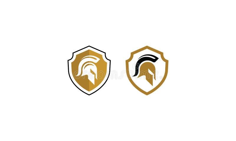 Spartan Warrior Vector logosymbol royaltyfri illustrationer