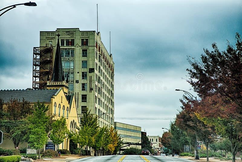 Spartanburg南卡罗来纳市地平线和街市围拢 免版税库存照片