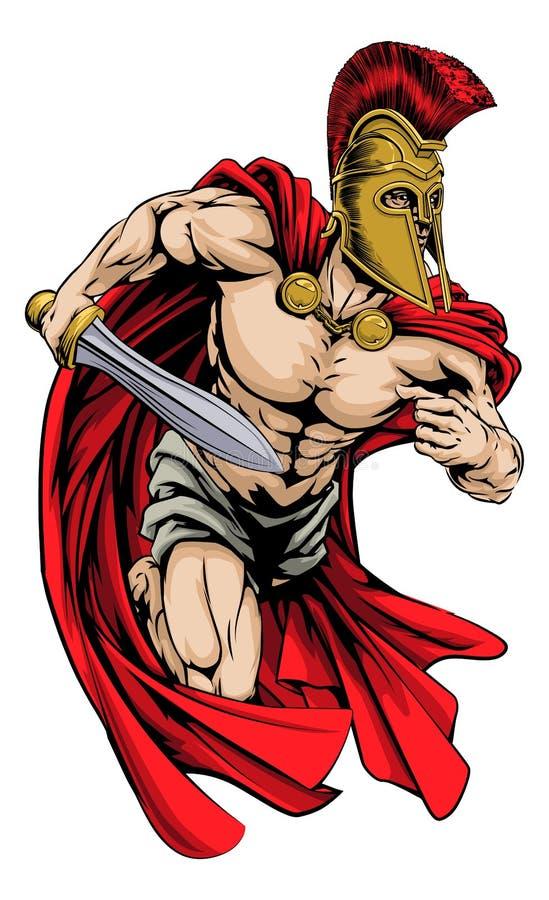 Spartanin bawi się maskotki ilustracji