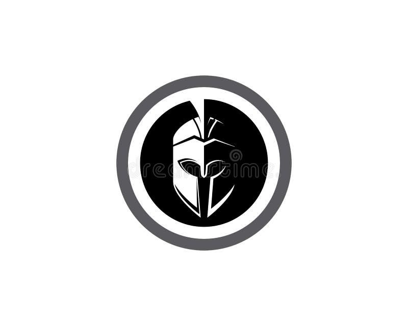 Spartanische Sturzhelmlogoschablone lizenzfreie abbildung