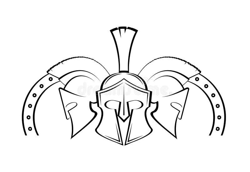 Spartanische Sturzhelmmilitärsymbol-Vektorikone lizenzfreie abbildung