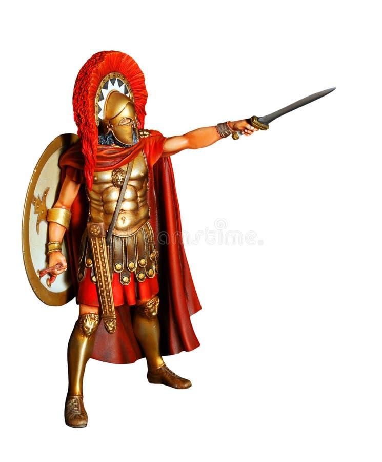 Spartanischer Krieger in der Rüstung mit Klinge stock abbildung