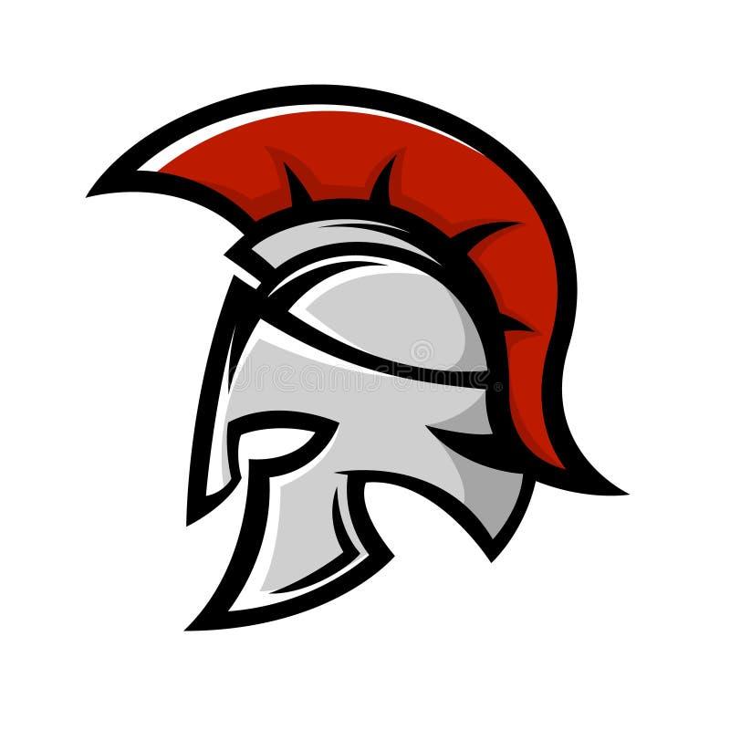 Spartanischer Krieger Sturzhelm Sportteam-Emblemschablone vektor abbildung