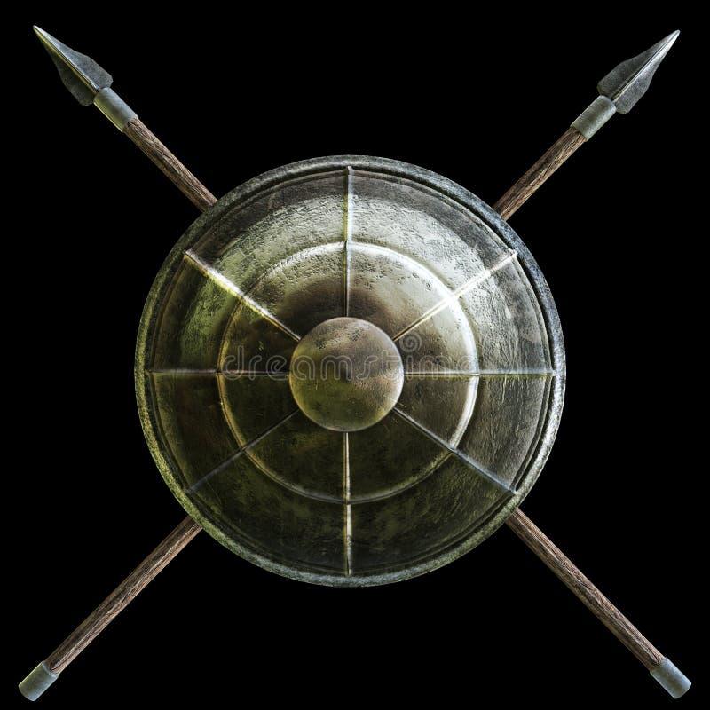 Spartanisches Schild mit Kreuz durchbohrt Symbol auf einem schwarzen Hintergrund lizenzfreie abbildung