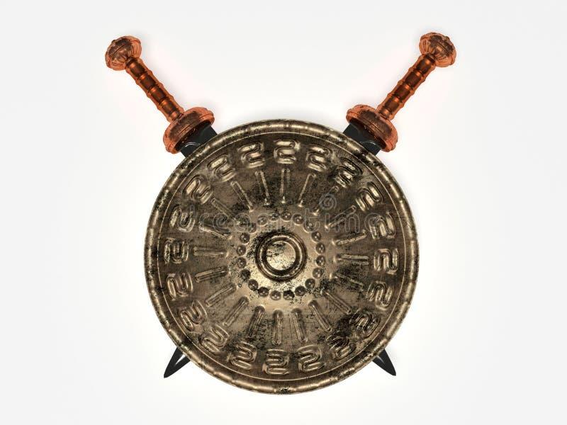 Spartanisches Schild und Klingen stock abbildung