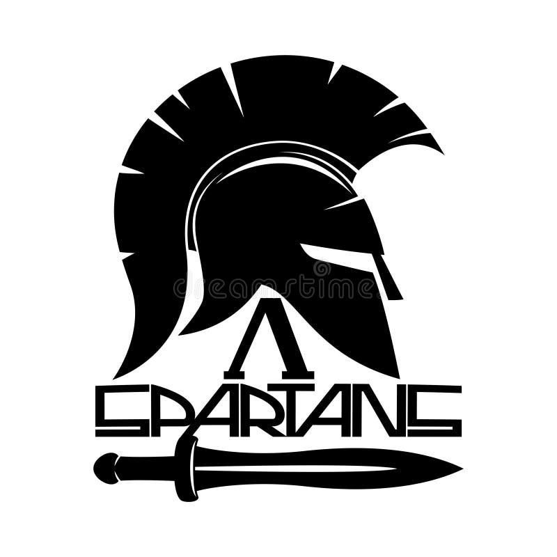 Spartanisches Sturzhelmzeichen lizenzfreie abbildung