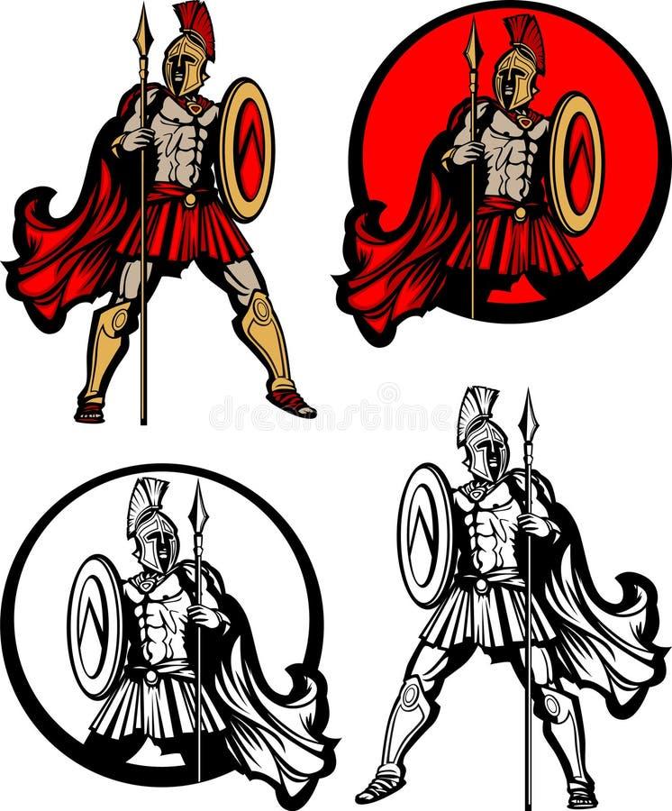 Spartanisches/Trojan Maskottchen-Zeichen stock abbildung