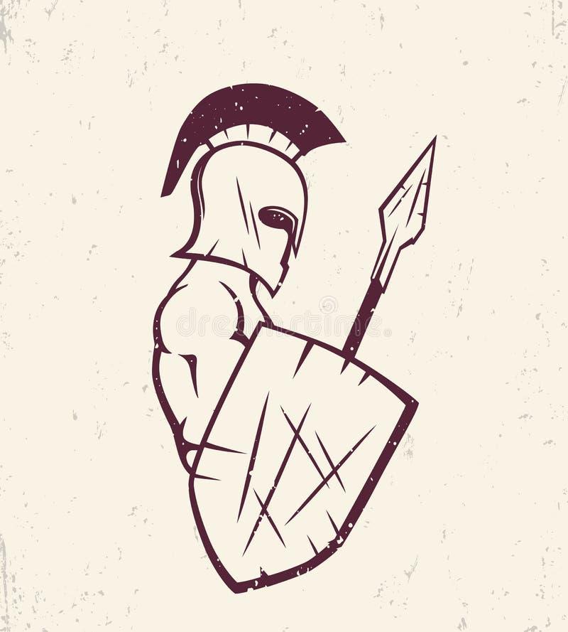 Spartano con la lancia e lo schermo, guerriero in casco illustrazione vettoriale