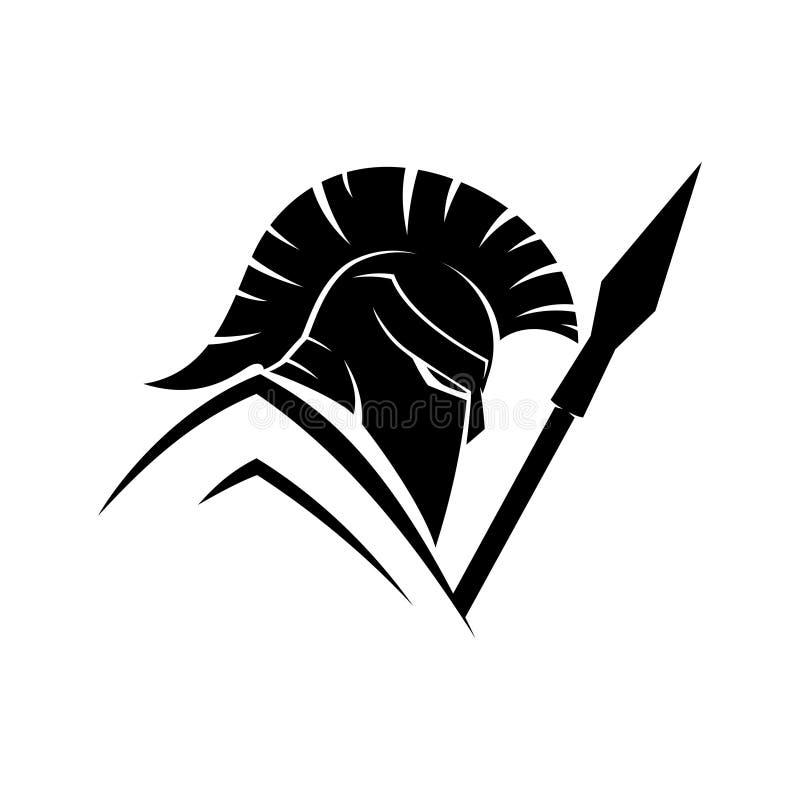 Spartano con lo schermo e la lancia royalty illustrazione gratis