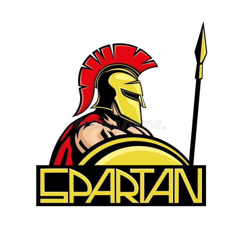 Spartano con lo schermo e la lancia illustrazione di stock