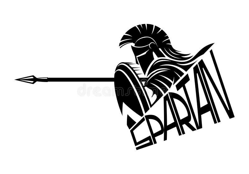 Spartano con una lancia e uno schermo illustrazione vettoriale