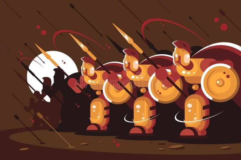Spartans с экранами и копьями бесплатная иллюстрация