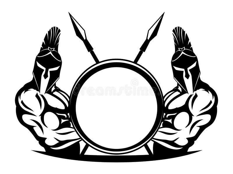 Spartans con el escudo y las lanzas stock de ilustración