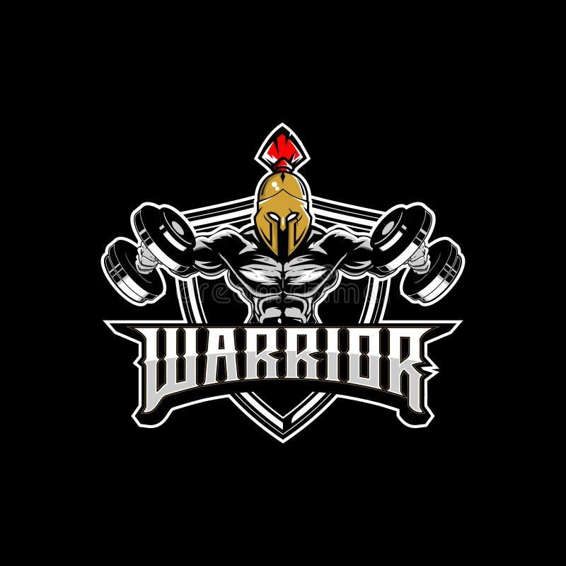 Spartansk bodybuilding för fantastisk och unik krigare med mallen för logo för hantelvektoremblem royaltyfri illustrationer