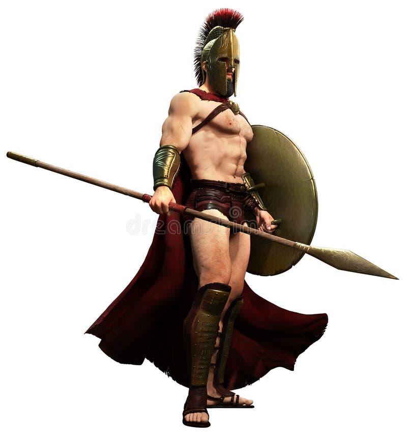 spartansk krigare royaltyfri illustrationer