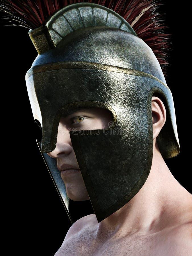 Spartansk krigare som bär den traditionella hjälmen Vinkelprofil som ser in mot kameran på en svart bakgrund 3d framför vektor illustrationer