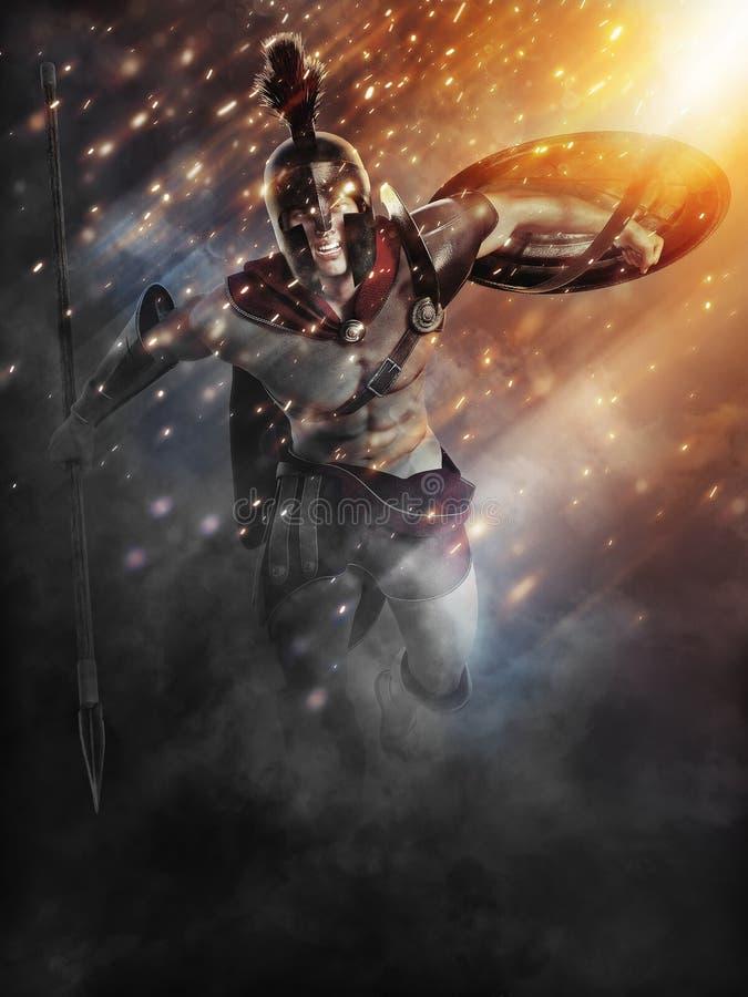 Spartansk laddning med abstrakta belysningeffekter stock illustrationer