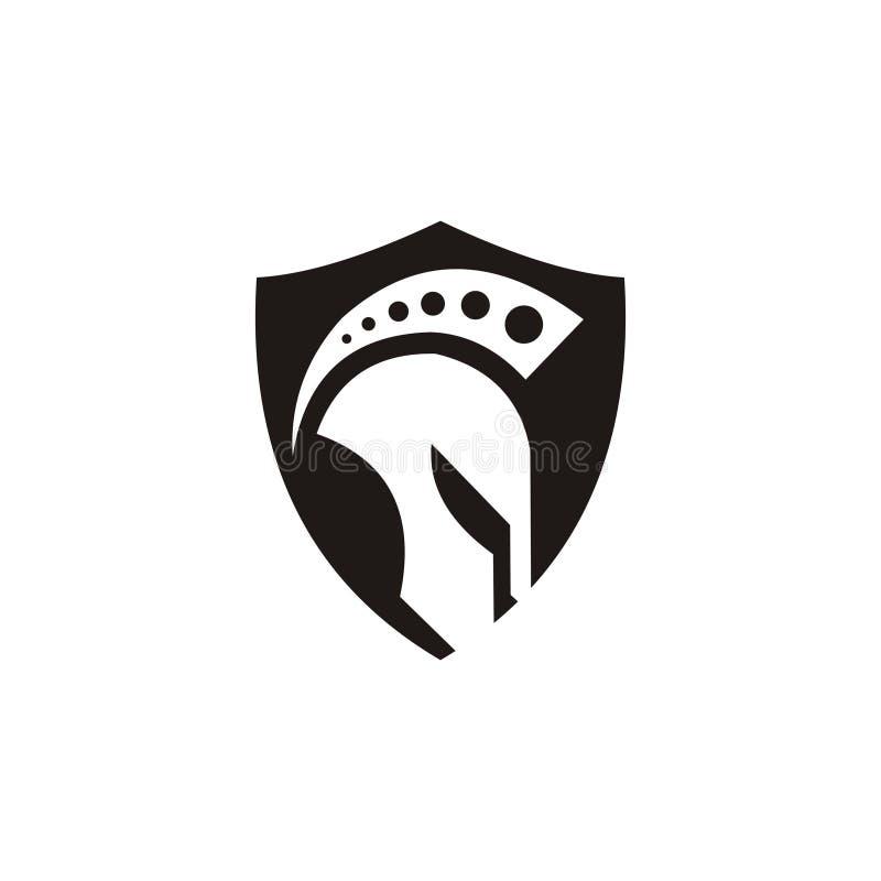 Spartansk logodesigninspiration vektor illustrationer