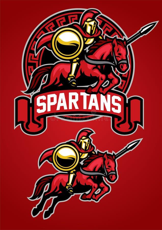 Spartansk maskot för krigareridninghäst stock illustrationer