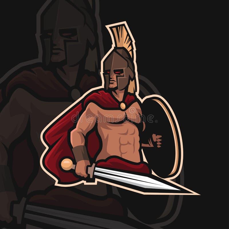 Spartansk sportlogo för krigare e royaltyfri foto