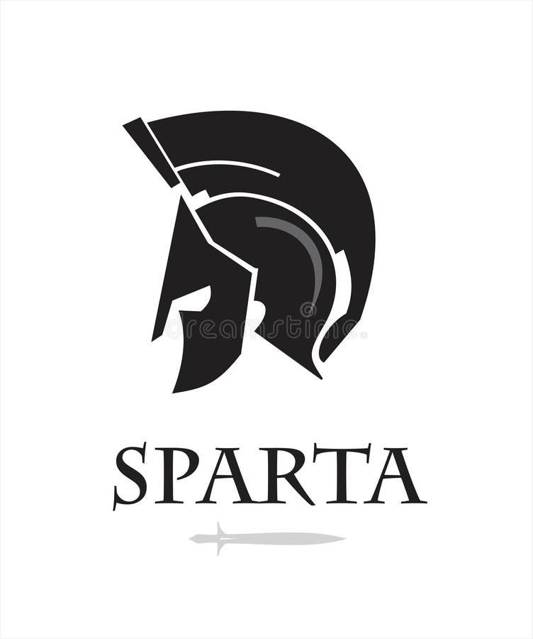 Spartanskt krigarehuvud Riddarelogo trojan royaltyfri illustrationer