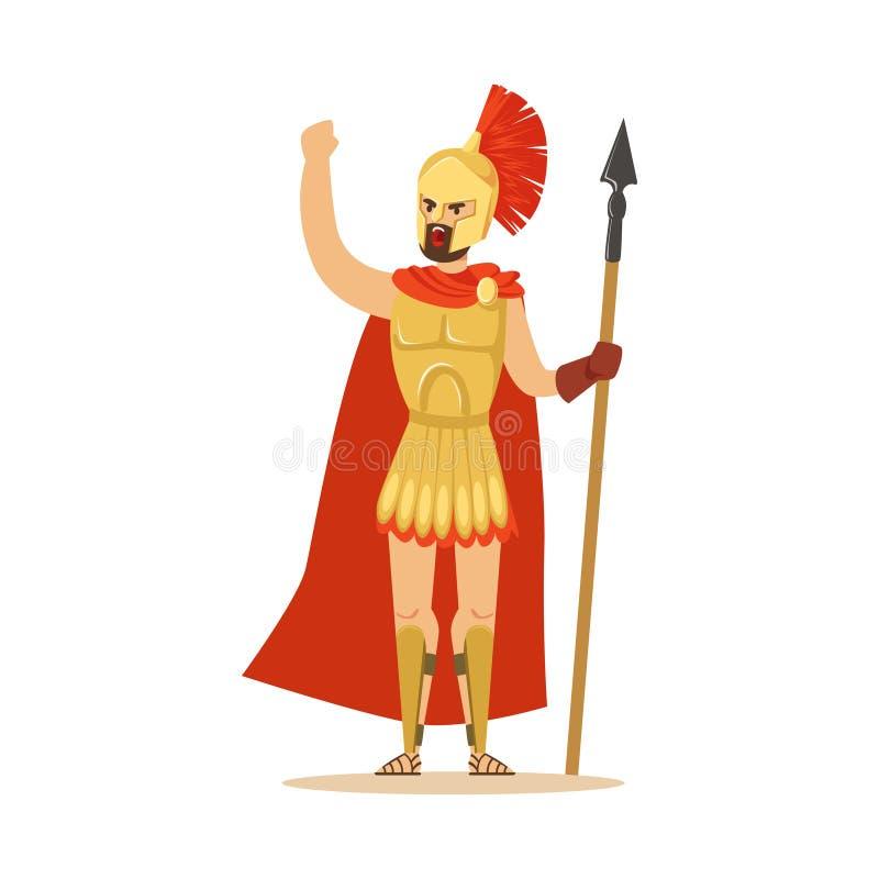 Spartanskt krigaretecken i harnesk och röd udde med spjutet som lyfts upp den grep hårt om näven, grekisk soldatvektorillustratio royaltyfri illustrationer