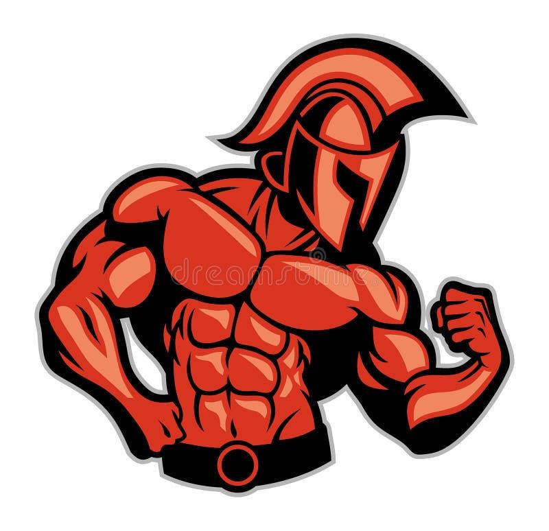 Spartanskt posera för muskel stock illustrationer