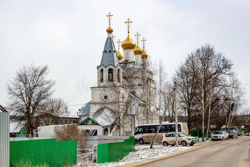 Spas-Zagorje, Russia - March 2016: Church of the Transfiguration of the Lord of the late 17th century stock photography