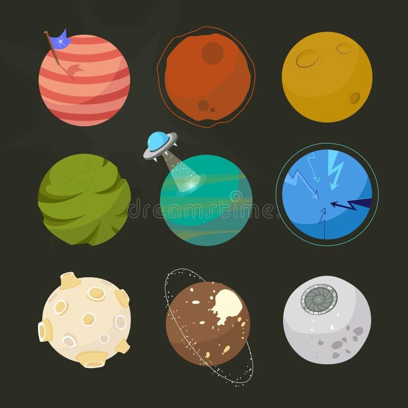 Spase planetuje dla projekta, powieściowe planety, brignt kreskówki astronautyczny styl royalty ilustracja