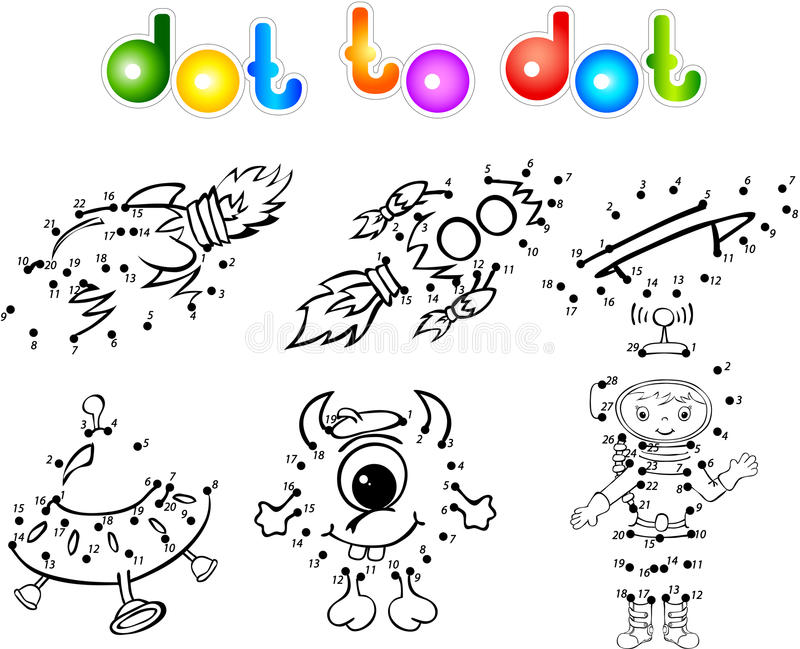 Spase Set 2 Dot To Dot Stock Vector. Illustration Of Draw