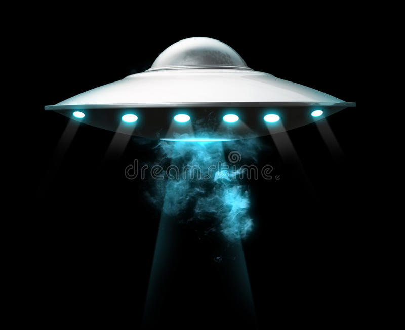 Spashship Landing. Three 3D well rendered rounded classic space ship landing with smoke around it and many light rays placed on a black background