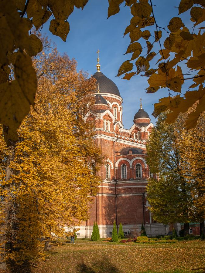 Spaso-Borodino monastery on the Borodino field in Central Russia in autumn. The monastery of the Savior full name-the monastery of the Savior in the name of stock images