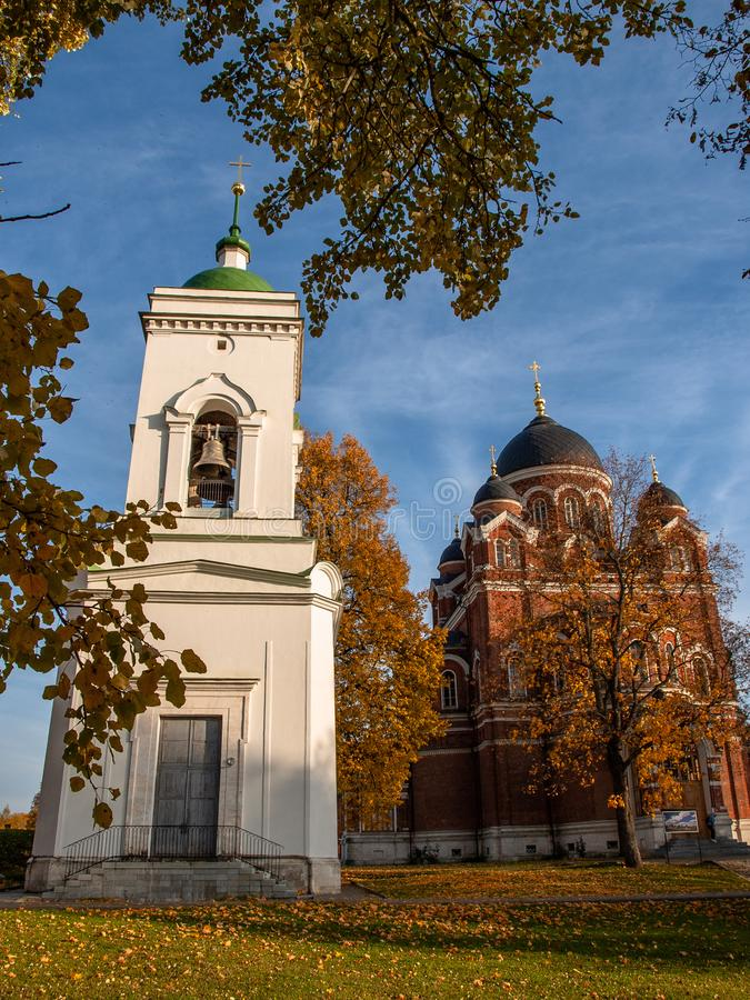 Spaso-Borodino monastery on the Borodino field in Central Russia in autumn. The monastery of the Savior full name-the monastery of the Savior in the name of royalty free stock photo