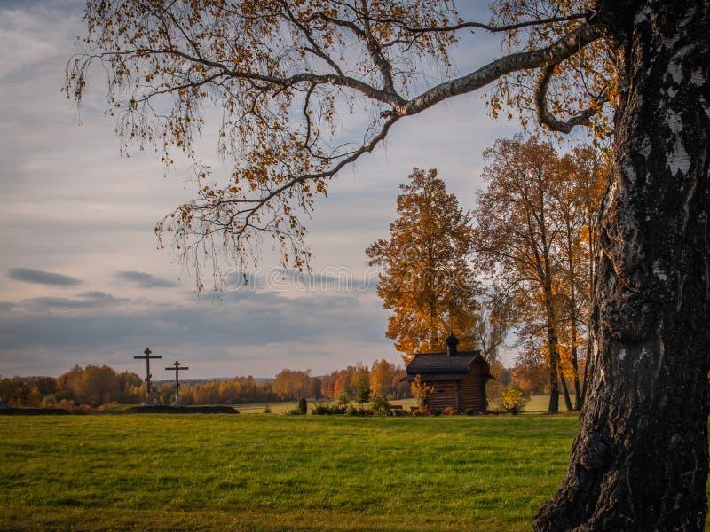 Spaso-Borodino monastery on the Borodino field in Central Russia in autumn. The monastery of the Savior full name-the monastery of the Savior in the name of stock photo
