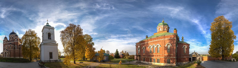 Spaso-Borodino monastery on the Borodino field in Central Russia in autumn. The monastery of the Savior full name-the monastery of the Savior in the name of stock photos