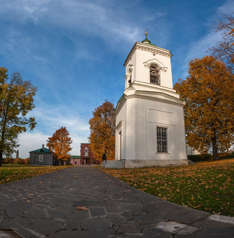 Spaso-Borodino monastery on the Borodino field in Central Russia in autumn. The monastery of the Savior full name-the monastery of the Savior in the name of royalty free stock images