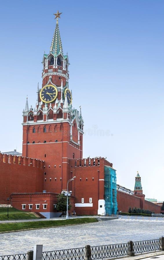 Spasskaya塔在克里姆林宫,莫斯科 免版税库存照片